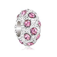 3c55a6a5a Pugster Silver P Clear Rose Pink Crystal Stripe Beads Charm Bracelet Fits  Pandora: Pugster White
