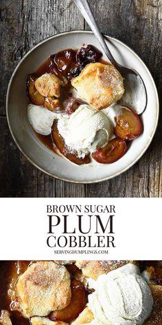 Plum Cobbler, Fruit Cobbler, Bread Snacks Recipe, Snack Recipes, Sugar Plum Recipes, Sweet Dumplings, Great Recipes, Favorite Recipes, Sweet Tarts