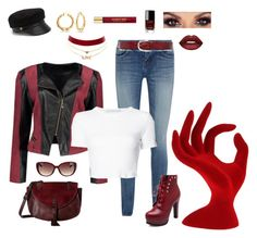 """""""Diggin' the Deep Red"""" by melissa-markel on Polyvore featuring Yves Saint Laurent, Rosetta Getty, Eugenia Kim, Bling Jewelry, Charlotte Russe, Madden Girl, Liebeskind, Lime Crime and Chanel"""