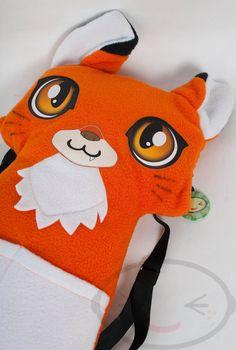 Orange Fox Kitsune Backpack,  Bag, Plush Animal, Handmade by lemonbrat on Etsy https://www.etsy.com/listing/118151841/orange-fox-kitsune-backpack-bag-plush