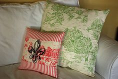 Green Toile and Stripes Pillow Cover 20 by CircledFleur on Etsy