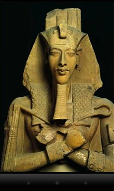 museum-of-artifacts: Statue of Akhenaten, known for abandoning traditional Egyptian polytheism and introducing worship centered on the Aten, which is sometimes described as monotheistic or henotheistic. He was also a father of Tutankhamun. Egyptian Pharaohs, Ancient Egyptian Art, Ancient Aliens, Ancient History, Art History, Egyptian Mythology, Ancient Mysteries, Ancient Artifacts, Statues