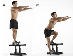 Single leg drop down squats from bench, maintain a level pelvis during the movement.