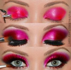Magenta jewel-toned eyes.