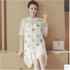 27.01$  Buy here  - Maternity Dresses Clothes For Pregnant Women Fashion Plus Size Cute Summer Cotton 2 Piece Women Embroidery Dress 2017 70R00956