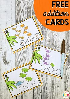 Free Dinosaur Addition Cards! A great way to work on beginner addition with kindergarten and first grade kids just for fun or during a Dinosaur Unit! #freemathgames #freemathprintables #dinosaurs #theSTEMLaboratory