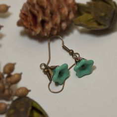 Free Shipping  Vintage Earrings  turquoise and brass by BeadsStory, $14.00