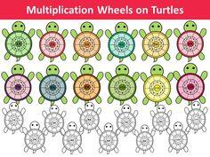 Multiplication wheels on turtles by PrwtoKoudouni Multiplication Wheel, Multiplication Activities, Maths, Math Clipart, Pink Minnie, Smart Art, Baby Girl Gifts, Fun Math, Teacher Resources