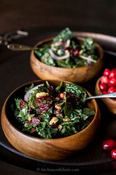 Recipe:  Cranberry Walnut Kale Salad with Cranberry Vinaigrette. We can tend to pack on the weight around the Holiday Season with all the extra eating. Stay healthy and try this delicious salad. We know we will