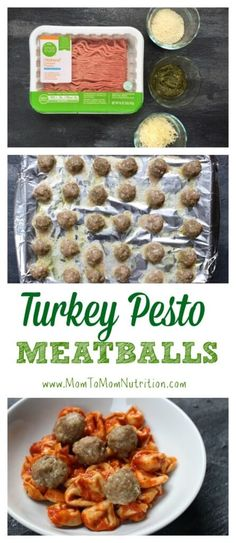 Turkey Pesto Meatballs are made with just four ingredients and make the perfect healthy protein for meatball subs or served with marinara and whole grain pasta for a simple weeknight meal. @MomNutrition