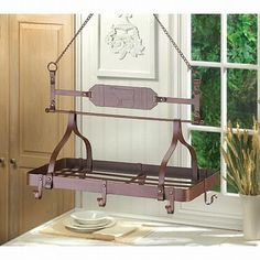 Home Kitchen Ceiling Mounted Hanging Pot And Pans Lid Rack Metal shelf Storage Home Bar Holder Hooks Decorative