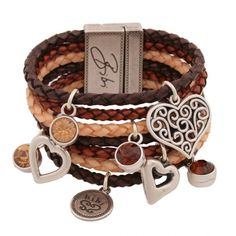 bibi bijoux Womens Multiple Brown Leather Strap Bracelet ($100) ❤ liked on Polyvore featuring jewelry, bracelets, accessories, pulseras, pulseiras, women, heart jewelry, charm bangles, heart-shaped jewelry and heart bangle