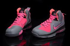 quality design c822f 84658 Womens Nike Lebron James 9 Pink Grey Black Pink Lebrons, Lebron 9, Lebron  James