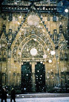 Snowing in Prague