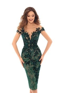 Look unforgettable at your next special event in the Mitzi Evening Dress by Tarik Ediz. This fabulous look features an illusion neckline, illusion cap sleeves, a low back, lace, embroidery and a fitted silhouette. Tea Length Dresses, Short Dresses, Prom Dresses, Formal Dresses, Dress Skirt, Lace Dress, Bodycon Dress, Dress Outfits, Fashion Dresses
