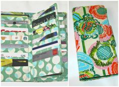 Coco Bloom Credit Card Organizer Wallet Gift Card by MintChocolat, Amy Butler Fabric