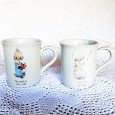 2 Precious Moments Mugs, Vintage Ceramic Mugs, Religious Coffee Mugs, God Made All Things, 1985 Eighties, Made in Korea, Cottage Chic by AngelheartsTreasures on Etsy