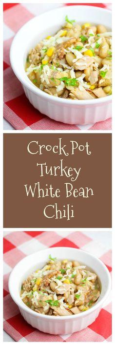 Crock Pot Turkey White Bean Chili #LoveALentil via @Kdkaren