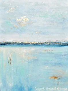 """""""Tranquility"""" Original Art Light Blue Abstract Painting in shades of aqua, blue, sea foam green, white, grey, teal, with gold leaf accents. Textured, large art, wall art, coastal home decor. Modern palette knife painting with calm, serene coastal feel of the ocean / sea containing accents of metallic gold leaf which reflects light, creating a stunning effect. Modern Gallery Fine Art - By Contemporary Artist, Christine Krainock"""