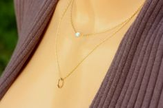Gold Necklace, Opal Necklace, Tiny One 4mm Opal Necklace ,Personalized Jewelry , 14k Gold Fill Chain , Perfect Layering Necklace
