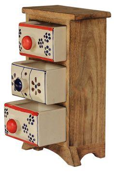 Bulk Wholesale Handmade Mango-Wood Storage Box / Jewelry Box / Trinket Box with 3 Ceramic Drawers – Unique & Artistic Utility Items – Home Décor