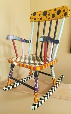 "HP whimsical B&W childs rocker rocking chair 29"" supercrazychick check polka dot | Collectibles, Decorative Collectibles, Other Decorative Collectibles | eBay!"