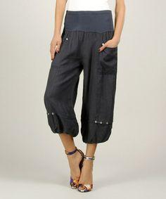 Look at this #zulilyfind! Navy Linen Ruched Pants #zulilyfinds