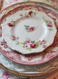 MIx Match Transferware, Roses, and Vintage Glass Plates, How Lovely ~ Mary Walds Place - The Charm of Home: Inspiration for Creating in Vintage Style (Mix Match Plates)