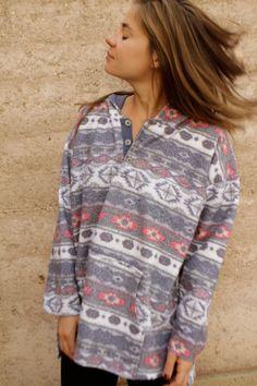 90s bright IKAT parka grunge FLEECE southwest style sweatshirt jacket
