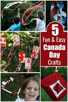 5 Fun and Easy Canada Day Crafts for Kids - Happy Hooligans via @https://www.pinterest.com/happyhooligans/
