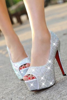 Rhinestone Peep Toe High Heel Platform Party Heeled Shoes