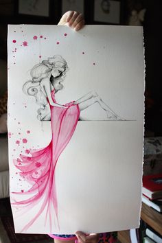 Painting OOAK Fine Art Original Watercolor Painting Pencil Drawing Pink Beautiful Girl Painting Large Abstract Painting Fashion Illustration by ABitofWhimsyArt on Etsy https://www.etsy.com/listing/198396556/painting-ooak-fine-art-original