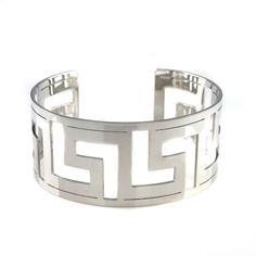 Steel by Design Stainless Steel Bold Greek Key Cuff Bracelet #SteelbyDesign #Bangles