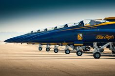 Blue Angels F-18 jets lined up on the flightline.