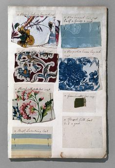 Album with textile samples and fashion plates, compiled by Barbara Johnson, England, 1746-1823.