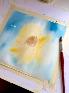Watercolor first wash on flower