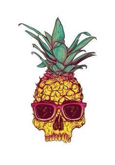 pineapple skull wearing sunglasses art