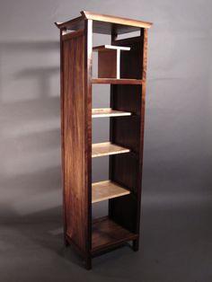 tall narrow bookcase, open midcentury modern bookshelves, handmade custom furniture
