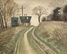 Fry Art Gallery Buys Striking Eric Ravilious Watercolour with Art Fund Help David Hockney, Michel, Landscape Paintings, Landscape Art, Printmaking, Countryside, Illustrators, Original Artwork, Art Gallery