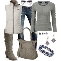 """""""Gray & White Fall Outfit"""" by lindakol on Polyvore"""