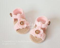 Crochet sandalias de bebé sandalias de gladiador 0-3 meses