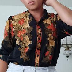 SuJin fashion Tops | Sujin 0 Silk Shirt | Poshmark Black Silk, Blossoms, Colorful Shirts, Kimono Top, Button Down Shirt, Stripes, Floral, Red, Outfits