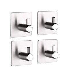 Waterproof Bathroom Towel Hooks for Coat Bathroom and Kitchen Pitcircle 4-Pack 3M Adhesive Hooks