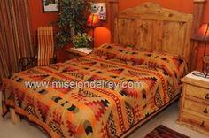 Southwestern Twin Size Bedspread -Pueblo TWIN SIZE