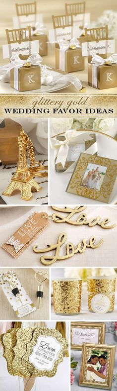 99 Glittery Gold Wedding Favor Ideas - we love the extra sparkly hand fans and candles!!