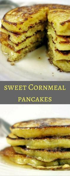 Deliciously Sweet and Savory Cornmeal Pancakes - My favorite easy pancake recipe! corn cakes johnny cakes pioneer woman taste of home sweet savory cornbread pancake recipes corn meal pancakes breakfast corn meal pancakes recipe breakfast recipe fluffy Cornmeal Pancakes, Pancakes Easy, Breakfast Pancakes, Pancakes And Waffles, Best Breakfast, Swedish Pancakes, Pancake Muffins, Breakfast Cookies, Cornmeal Recipes