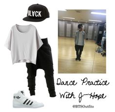 """""""Dance Practice with J-Hope"""" by btsoutfits ❤ liked on Polyvore featuring Black Scale and adidas Originals"""
