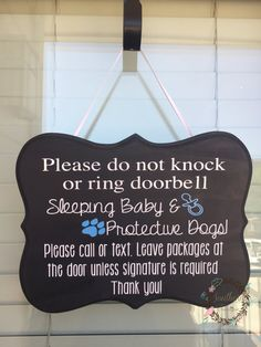 This baby door hanger is a must-have for any home with a baby and barking dogs. As a mom of two, nothing drives me crazier than just getting both kids to sleep and having the dog bark!! Listing picture features a beautiful gray sign that will go with any color front door! Sign color can be changed, please see drop down listing for available colors. This sign is completely customizable. Background color, text, and embellishment colors can all be changed. The embellishments may also be changed…