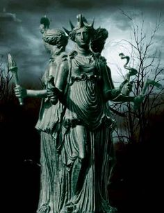 Hekate_ is a Greek goddess, most often shown holding two torches or a key & in later periods depicted in triple form, associated with crossroads, entrance-ways, dogs, light, the moon, magic, witchcraft, knowledge of herbs & poisonous plants, necromancy, & sorcery. In post-Christian writings regarded with rulership over earth, sea & sky, & universal role as Mother of Angels, worshiped in Athenian households as protective goddess who bestowed prosperity & daily blessings on the family.