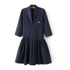 SheIn(sheinside) Navy Vertical Striped V Neck Dress With Brooch (115 SAR) ❤ liked on Polyvore featuring dresses, navy, navy shirt dress, striped shirt dress, short flare dress, 3/4 sleeve dress and short dresses